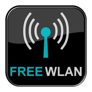 Glossy Button schwarz - Free Wlan